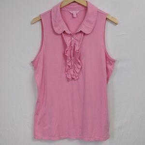 Lilly Pulitzer Pink Drew Button Collar Top Ruffle